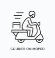 courier on moped line icon outline vector image