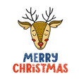cute merry christmas greeting card with deer vector image