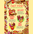 fast food poster for fastfood restaurant vector image vector image