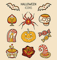 halloween icons signs vector image