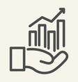 hand holding graph line icon growth chart in palm vector image vector image