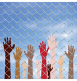 Hands Behind a Wire Fence2 vector image vector image