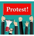 Hands holding protest signs and bullhorn vector image