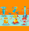 happy robot cartoon characters group vector image vector image