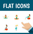 icon flat pregnant set of mother yoga meditation vector image vector image