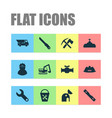 industrial icons set with observatory truck vector image