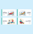 injured patients and doctor landing page template vector image vector image