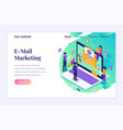 isometric landing page design concept email vector image vector image