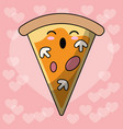 kawaii pizza food image vector image