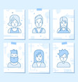 linear flat people faces icon set vector image vector image