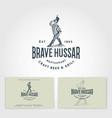 logo brave hussar restaurant emblem or beer label vector image vector image