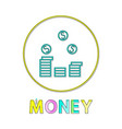 money pile isolated on white background banner vector image vector image