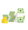 Pile cash with stack golden coins big money