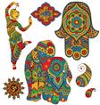 set indian symbols vector image vector image