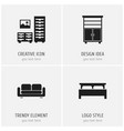 set of 4 editable furniture icons includes vector image vector image
