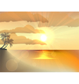 Sunset ocean summer beach with tropical palm tree vector image vector image