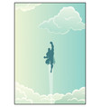 superhero in cloudscape vector image vector image