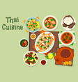 thai cuisine icon for spicy asian food design vector image vector image