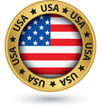 usa gold label with state map vector image vector image