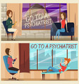 visit to psychiatrist flat banners vector image vector image