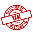 welcome to uk red stamp vector image vector image