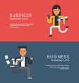 Young Businessmans in Suit Running Fast Flat Style vector image