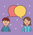 young couple with speech bubbles vector image vector image