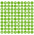 100 europe icons hexagon green vector image vector image