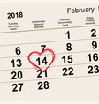 14 february 2018 saint valentines day calendar vector image