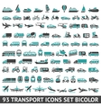 93 Transport icons set bicolor vector image vector image