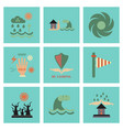 assembly flat icons natural disasters vector image vector image