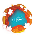 beautiful autumn in paper cut style origami vector image