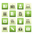business and office icons over green background vector image vector image