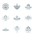 camping tent logo set simple style vector image vector image