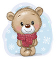 cartoon teddy bear in a knitted scarf on a blue vector image vector image