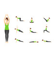 cartoon woman in green top yoga poses icons set vector image vector image