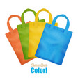 colorful canvas tote bags collection advertisement vector image vector image