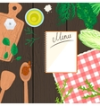 cooking in kitchen top view banner vector image vector image