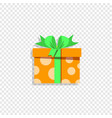 cute orange gift box wrapped with festive bow vector image