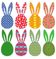 Eight ornamental Easter rabbit heads vector image vector image