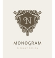 elegant floral monogram logo design template vector image vector image