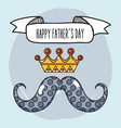 father day with mustache and crown design vector image vector image