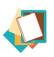 Flat design of notepad paper sheets and tablet vector image