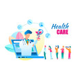 flat online health care doctor consultation vector image vector image