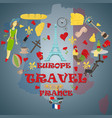 flat travel 2 to europe france symbols and vector image