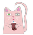 funny pink cat holds a drink in his paws cute vector image