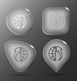 Globe and array up Glass buttons vector image vector image