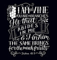 hand lettering with bible verse i am the vine you vector image