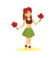 hawaii beautiful woman girl dancing sandy beach vector image