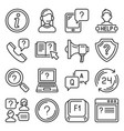 help and online support center icons set vector image vector image